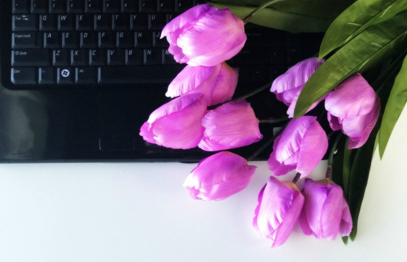 tulips and laptop